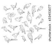 birds set. lined vector... | Shutterstock .eps vector #653453077