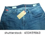 blue jeans with  blank tag on