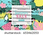 tropical summer banner design.... | Shutterstock .eps vector #653462053