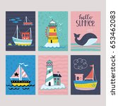hello summer greeting card set... | Shutterstock .eps vector #653462083