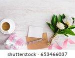 top view of blank note  kraft... | Shutterstock . vector #653466037