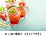 refreshing summer drink with... | Shutterstock . vector #653474953