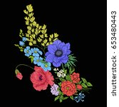 embroidery vintage flowers... | Shutterstock .eps vector #653480443
