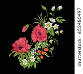 embroidery vintage flowers... | Shutterstock .eps vector #653480497