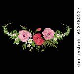 embroidery vintage flowers... | Shutterstock .eps vector #653480527