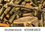 an ax to chop wood | Shutterstock . vector #653481823