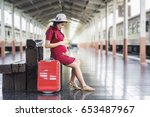 asian pregnant woman in red... | Shutterstock . vector #653487967