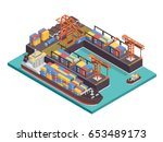 modern industrial ship port and ... | Shutterstock .eps vector #653489173