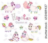 hipster unicorns set | Shutterstock .eps vector #653489437