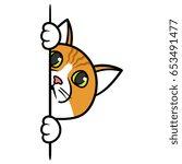 cartoon curious peeking cat... | Shutterstock .eps vector #653491477
