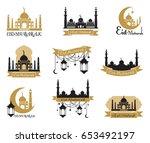 set of emblems for islamic holy ... | Shutterstock .eps vector #653492197