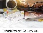 overhead view of traveler's... | Shutterstock . vector #653497987