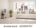 white modern room with sofa.... | Shutterstock . vector #653504707