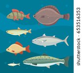 isolated river fish. set of... | Shutterstock .eps vector #653516353