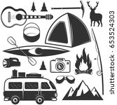 vector set of camping objects... | Shutterstock .eps vector #653524303