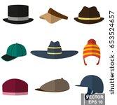 set of different headgear... | Shutterstock .eps vector #653524657