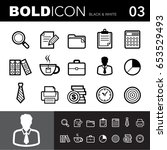 bold line icons  office set... | Shutterstock .eps vector #653529493