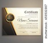 premium certificate design... | Shutterstock .eps vector #653532307