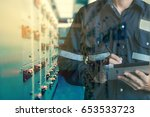double exposure of engineer or... | Shutterstock . vector #653533723
