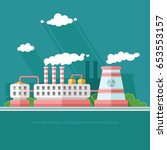 nuclear power plant and factory.... | Shutterstock .eps vector #653553157