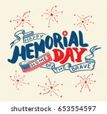 happy memorial day.  hand... | Shutterstock .eps vector #653554597
