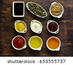 different types of sauces and... | Shutterstock . vector #653555737