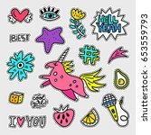 vector patch set   80s 90s... | Shutterstock .eps vector #653559793