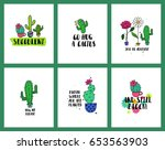 set of funny cards or posters... | Shutterstock .eps vector #653563903