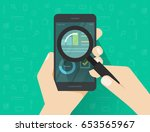 analytics data on mobile phone... | Shutterstock .eps vector #653565967
