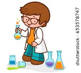 boy using chemistry test tubes  ... | Shutterstock .eps vector #653578747
