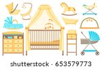 baby furniture and equipment... | Shutterstock .eps vector #653579773