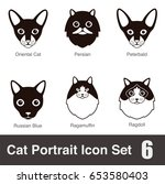 cat breed face cartoon flat... | Shutterstock .eps vector #653580403