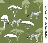 seamless pattern with cheetah... | Shutterstock . vector #653599897