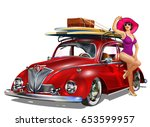 vintage car with pin up girl... | Shutterstock .eps vector #653599957