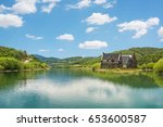 the lakeside house and fresh... | Shutterstock . vector #653600587