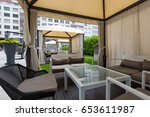 terrace cafe open air | Shutterstock . vector #653611987