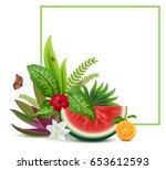 floral vegetable template... | Shutterstock . vector #653612593