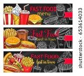 fast food menu chalkboard... | Shutterstock .eps vector #653614033
