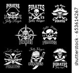 pirate skull with crossbone and ... | Shutterstock .eps vector #653614267