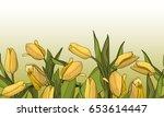 seamless border floral... | Shutterstock .eps vector #653614447