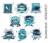 fishing sport badge set. bass ... | Shutterstock .eps vector #653615917