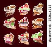 desserts stickers set. vector... | Shutterstock .eps vector #653616313