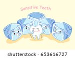 cute cartoon tooth feel afraid... | Shutterstock .eps vector #653616727