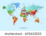 world map countries vector on...   Shutterstock .eps vector #653623033