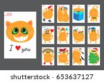 calendar with funny cats for... | Shutterstock .eps vector #653637127