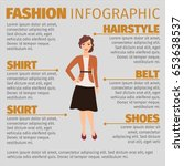 fashion infographic with girl... | Shutterstock .eps vector #653638537