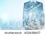 Businessman's body on creative city background with forex chart and copy space. Trade concept. Double exposure