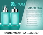 vector cosmetic ads green serum ... | Shutterstock .eps vector #653639857