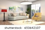 interior living room. 3d... | Shutterstock . vector #653642107