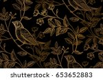vintage flowers  branches ... | Shutterstock . vector #653652883